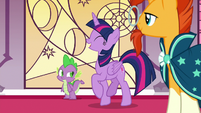 Twilight Sparkle giddily prancing in the throne room S7E25