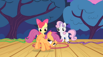 Apple Bloom and Sweetie Belle sees Scootaloo trying to fly S4E05