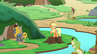 Applejack standing on a tree stump S8E23