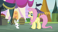 Bunny Fluttershy gesturing about Zecora S9E18
