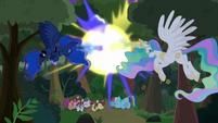 Celestia and Luna blasting the trees S9E13