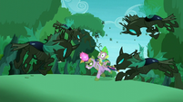 Changelings fly to attack Twilight and Spike S5E26