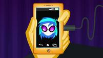 DJ Pon-3 plugs into Sunset's phone CYOE12a