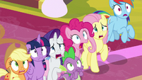 Mane Six and Spike gasp in horror S9E24