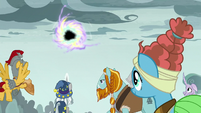 Pillars of Old Equestria watching the portal close S7E26