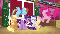 Pinkie bouncing in front of her upset friends BGES2