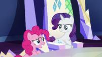 Pinkie embarrassed; Rarity annoyed S5E22