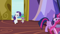 Rarity and Spike return to the castle S9E19