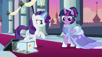 Rarity outfitting Twilight in her gown S9E26