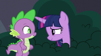 Twilight smiling a little cheered up S9E5