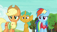Applejack, Rainbow, and Snails looking confused S6E18