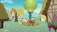 Applejack and Rainbow wait by the balloon S8E5