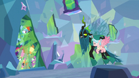 Chrysalis and Cozy look at trapped ponies S9E25