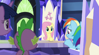 Fluttershy and Rainbow in awkward silence S8E21