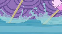 Oars moving through the water S8E9