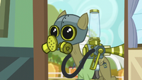 Pest pony with gas mask on S5E04