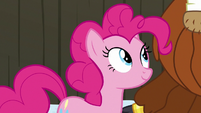 Pinkie Pie smiling at Prince Rutherford S7E11