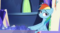 Rainbow Dash rolls her eyes at Pinkie S8E21