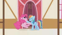 Rainbow Dash sticks hoof in Pinkie's mouth S1E5