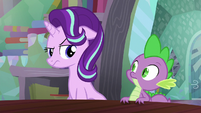 Starlight looking at Spike unamused S6E2