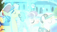 The Crystal Ponies being crystallized S6E2
