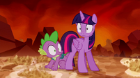 Twilight Sparkle and Spike hears something S5E26