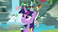 Twilight surrounded by birds and butterflies S9E26