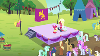 Apple Bloom and Orchard Blossom doing Sisterhooves cheer S5E17