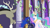 Celestia and Luna appear behind Discord S9E17