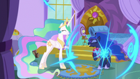 Luna reappears in Celestia's bedroom S9E13
