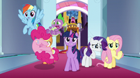 Pinkie Pie tumbling under Spike S9E1