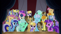 Ponies cheering for Pinkie Pie BFHHS4