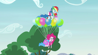 Rainbow and Pinkie levitating upward EG3