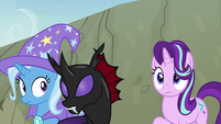 Starlight, Trixie, and Pharynx hear the changelings S7E17