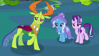 Thorax, Trixie, and Starlight watch Pharynx's temperament S7E17
