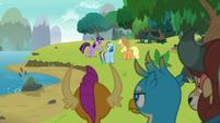 Twilight Sparkle reprimanding her friends S8E9