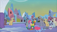 Pinkie Pie being hit on head by frugelhorn S3E2