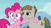 Pinkie Pie doing a double take to Maud Pie S8E3