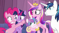Pinkie holds on to Twilight in fear S6E2