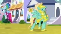 Rainbow Dash flies away from Zephyr S9E4