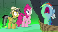 Rainbow Dash yelling to be untied S7E18