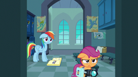 Scootaloo tearfully leaving the locker room S7E7
