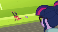 Sunset Shimmer and Spike lying on the ground CYOE4b