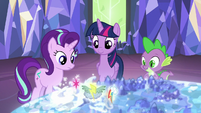 Twilight, Starlight, and Spike look at the Cutie Map S6E24