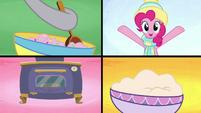 Four-way split-screen of baking sweets MLPBGE