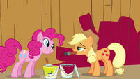 Pinkie Pie and Applejack in front of barn S02E18