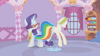 Rarity fixing Rainbow Dash's dress S1E14