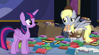 Derpy shaking her head at Twilight S6E25