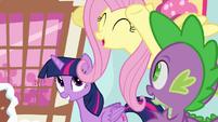 "Fluttershy cheering ""go, Pinkie, go!"" S4E12"