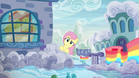 Fluttershy looks behind her parents' house S6E11